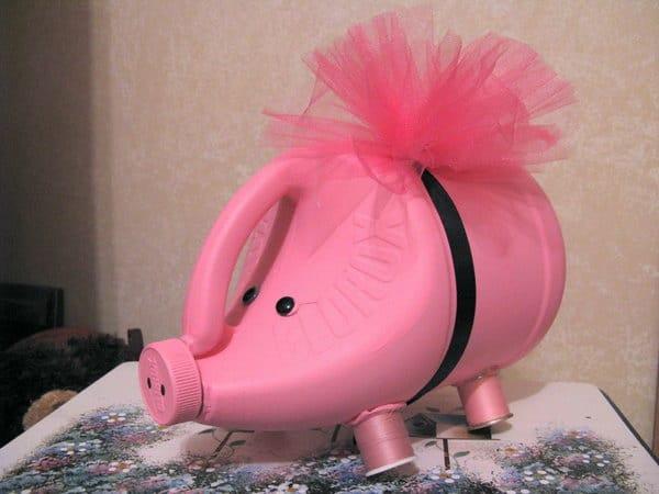 Pink Clorox bottle piggybank