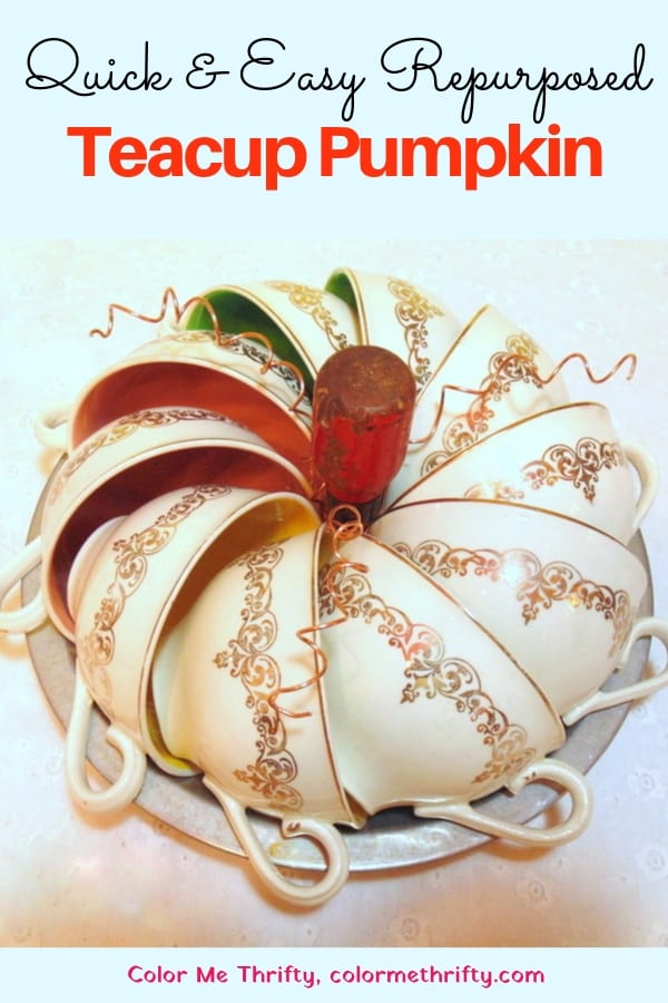 Repurpose teacup pumpkin