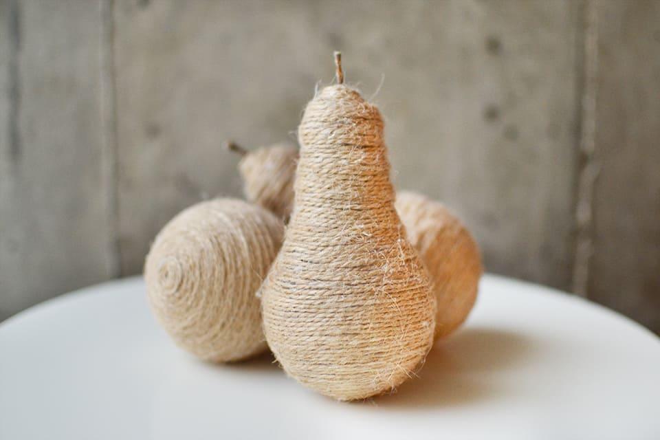 Rustic twine wrapped light bulb pear decor