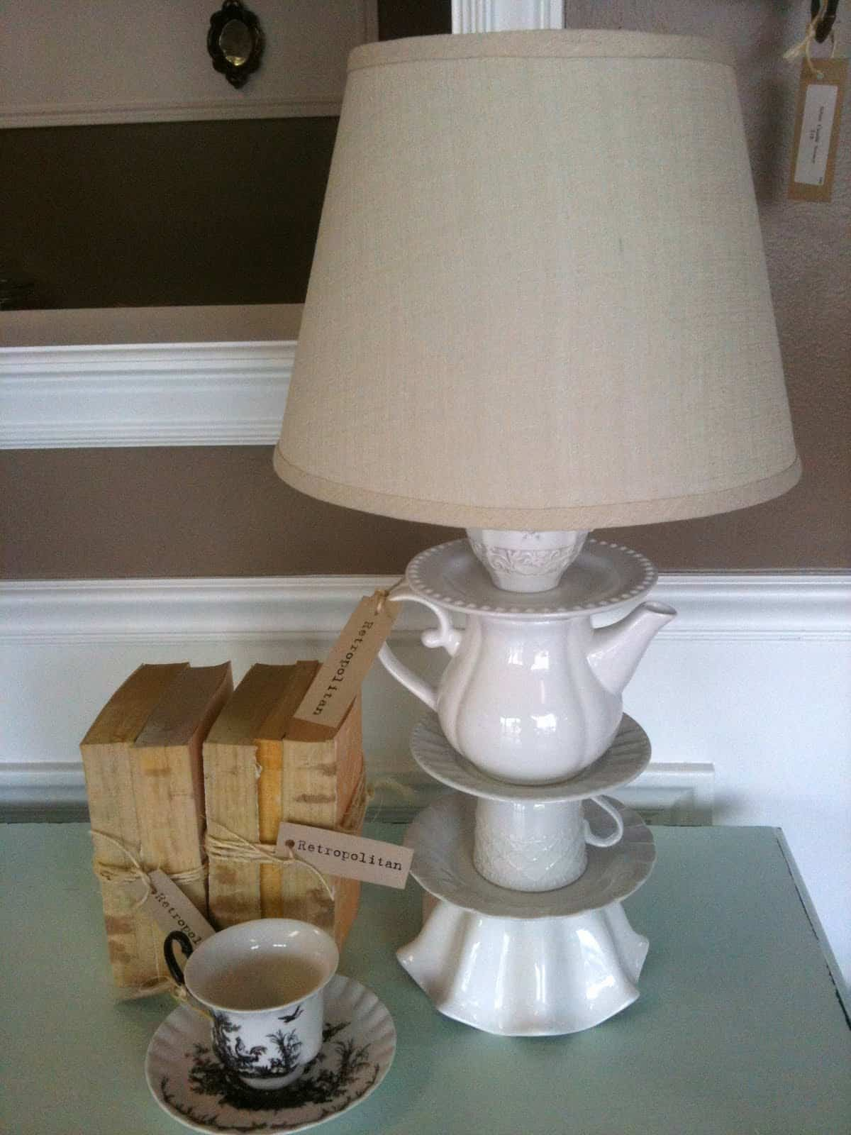 Teacupt and teapot table lamp Repurposing Teacups and Tea Pots Into Home Decor