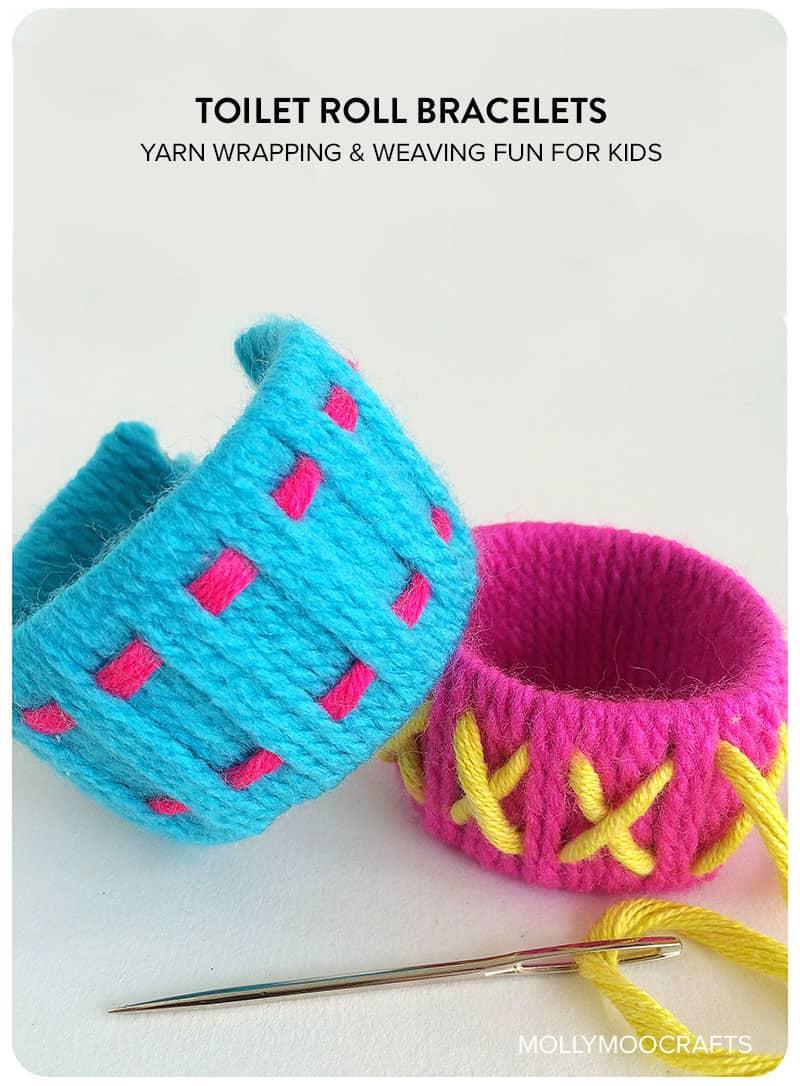 Toilet roll yarn bracelets