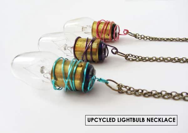 Upcycled lightbulk necklace