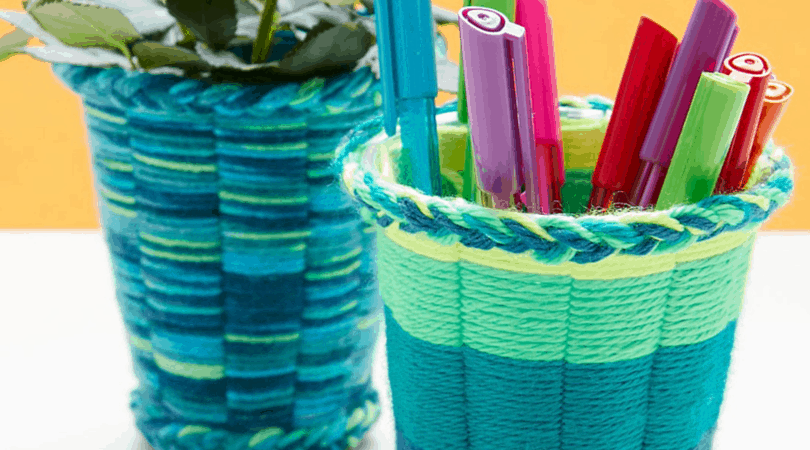 Yarn cup weaving 15 Fantastic DIY Yarn Crafts of All Kinds