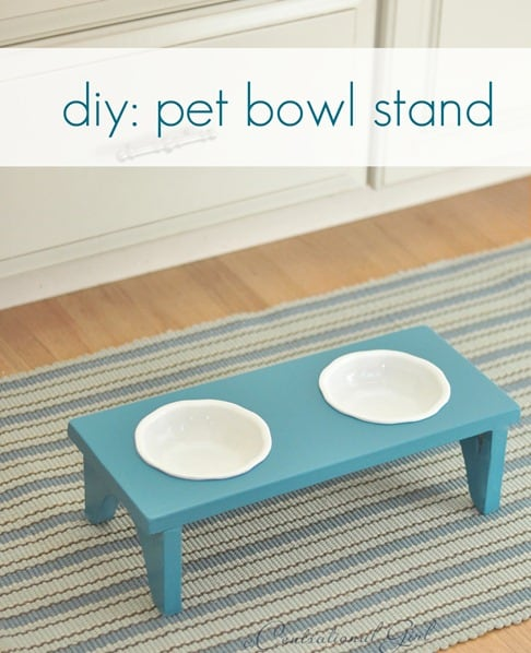 Cermic and wood dog food stand