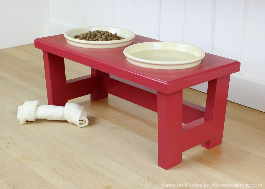 DIy dog food bowl stand in red 15 DIY Dog Food Stands Made from Scratch